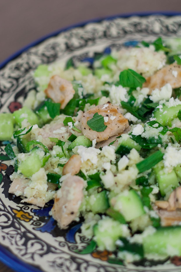 Couscous met kip, komkommer en munt