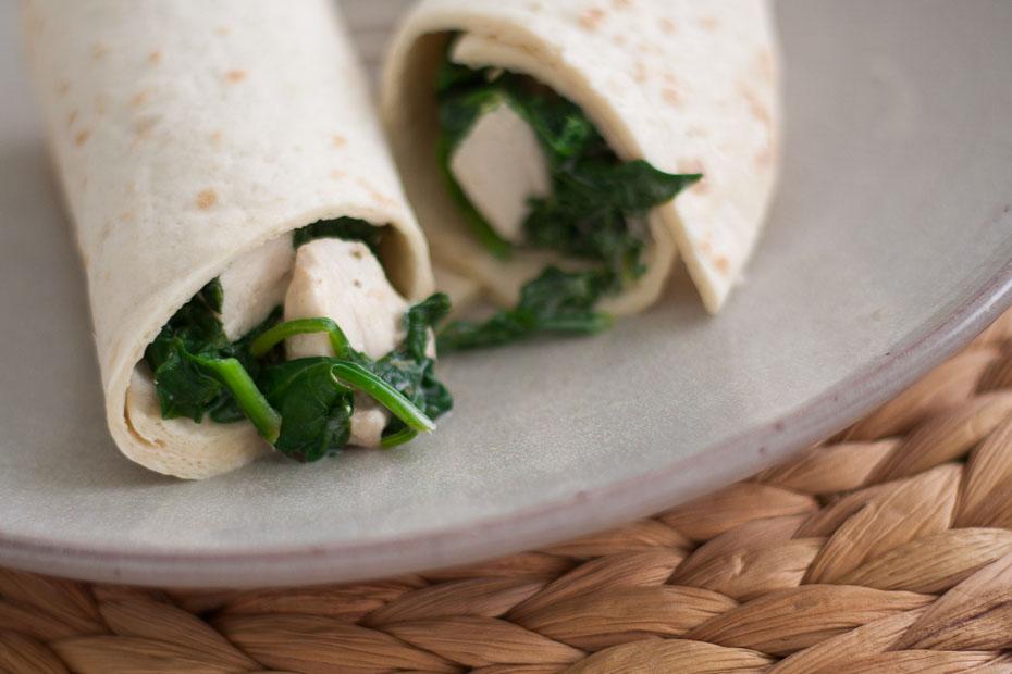 Spinazie kip wraps