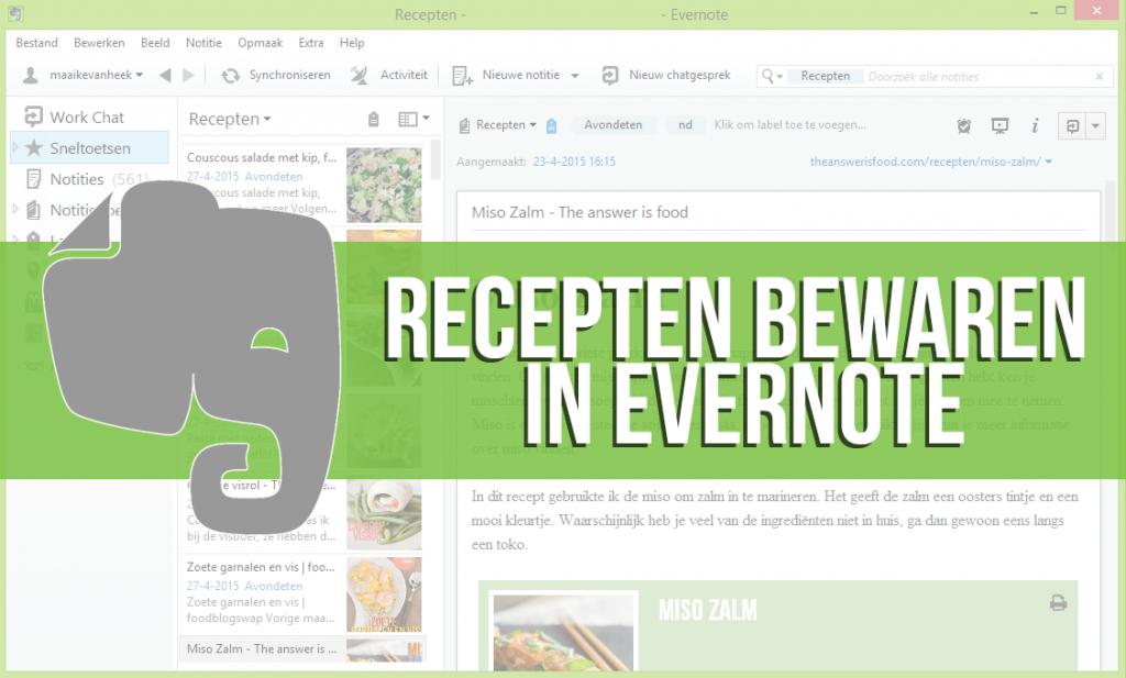 recepten bewaren in evernote
