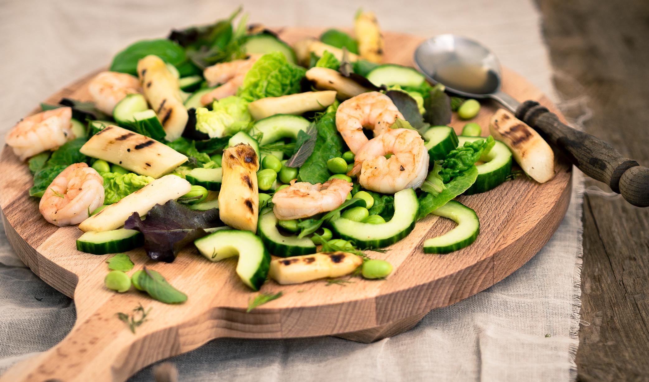 Gegrilde asperge salade